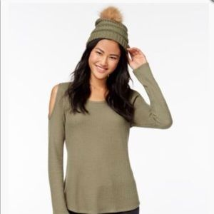 98b28ddead4 Self Esteem Accessories - Olive Green Knit Pom Pom hat with matching shirt.